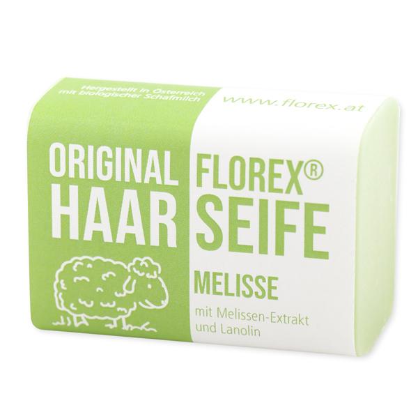 Haarseife mit Schafmilch eckig 100g mit Schleife, Melisse