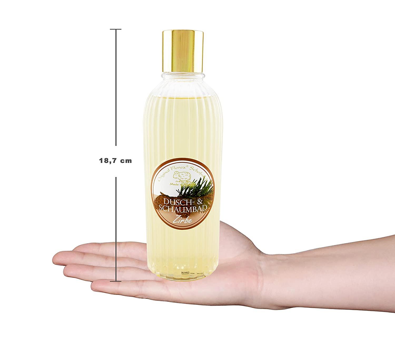 Dusch- & Schaumbad mit biologischer Schafmilch 330ml in der Flasche, Zirbe Original Florex® Dusch- und Schaumbad reinigt sehr mild, pflegt die Haut und schützt sie vor dem Austrocknen. Genießen Sie ein entspannendes Dusch- und Badeerlebnis mit unseren herrlichen Düften. Mit Zirbenöl Mit biologischer Schafmilch - Hergestellt in Österreich Frei von Parabenen, Palmöl, Silikonen und Erdöl