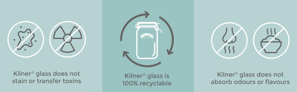 Kilner-Glas ist zu 100 % recycelbar, hinterlässt keine Flecken und nimmt keine Gerüche an.